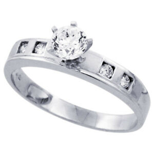 Women 925 Sterling Silver Rhodium Plated Solitaire CZ Ring 4mm