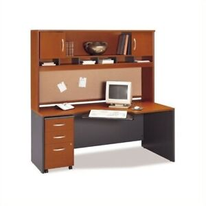 Bush Business Furniture Home Office Computer Desk Set with Hutch in Auburn Maple