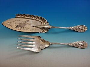 Japanese by Tiffany & Co. Sterling Silver Fish Serving Set Koi and Bird design