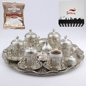 SET OF 6 Turkish Greek Arabic Coffee Espresso Serving Cup Saucer Set