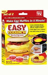 Set of 2 As Seen On TV Healthy Easy Eggwich Microwave Egg Cooker