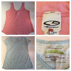 Women's Athletic Tops Lot of 2 Earth Yoga Champion Sz Small Burnout T-Shirt 2381