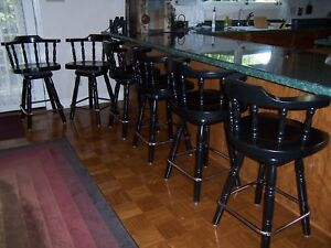 Set of 6 Vintage Bar Stools Wood Swivel Top High Backs great condition $500.00