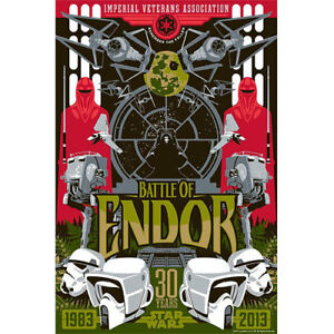 STAR WARS BATTLE OF ENDOR Limited Edition Giclee Art Print #4983 watercolor $89.50