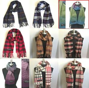 Womens Mens Winter 100% Cashmere Plaid Solid Scarves Wool Scarf Scotland Made $8.99