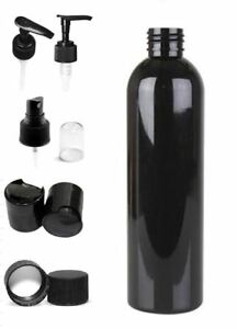 3 Pack Empty Black 8 oz. PET Plastic Bullet Round Bottles with Tops BPA free