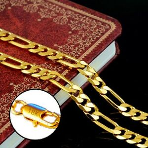 18k Yellow Gold Mens Womens 20quot; Italian Figaro 8mm Link Chain Necklace D292