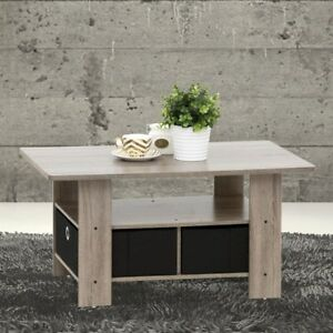 Furinno Home Living Dark Brown and Black Built-In Storage Coffee Table