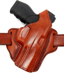 TAGUA RIGHT HAND BROWN LEATHER OWB BELT HOLSTER with THUMB BREAK - CHOOSE GUN