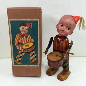 Vintage Rare Tin toy pre war drum tapping boy with spring box type box FS