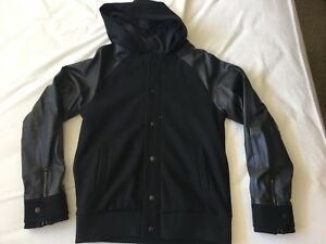 B:SCOTT Leather Sleeves Hoodie and Jacket Two-In-One Men Size S