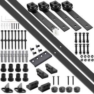 10ft 12ft Double Sliding Barn Wood Door Hardware Roller Track Carbon Steel Kit