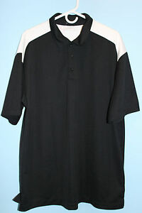 PRE-OWNED MENS NIKE FIT DRY GOLF POLO SHIRT SIZE XL BLACK WHITE MSRP $59.99
