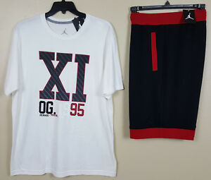 NIKE AIR JORDAN XI 11 OUTFIT SHIRT + SHORTS WHITE BLACK RED RARE NEW (SIZE XL)