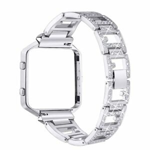 Fitbit Blaze Replacement Metal Bands with Rhinestone Bling Adjustable Bracelet