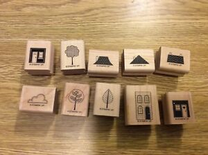 Stampin' Up! Set 10 Wooden Mounted Rubber Stamps Stamping