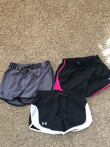 Lot of 3 Girl's Under Armour And Nike Athletic Shorts YLG Youth Large