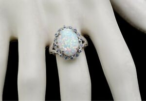 Stunning Fire Opal 14X10mm With Aquamarine Accents Ring .925 Sterling Silver