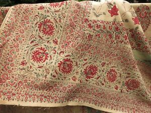 BEAUTIFUL Antique 19thC India Block Print Cotton Textile Wall Hanging 46x105