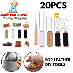 Leather Craft Repair Needles amp; Waxed Threads Set DIY Tools Curved Needles 20 Pcs $17.08