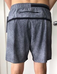 Lululemon Men's Size M Surge Short 7 Black White CRAB Liner Reflective Core NWT