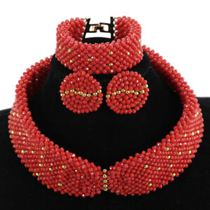 Fashion Red Choker Statement Necklace New African Women Wedding Jewelry Set