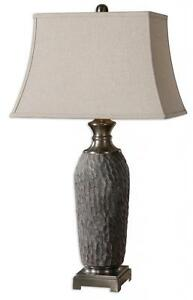 Designer Distressed TEXTURED GRAY Ceramic Table Lamp Metal Accent Stone
