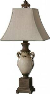 Designer CRACKLED IVORY URN Table Lamp Cream White Antiqued Distressed