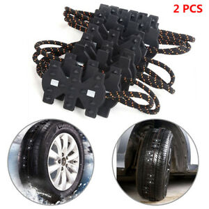 2Pcs Car Truck Anti-skid Chains For Snow Mud Wheel Tyre Tire Safety Tool Nylon
