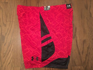 New Under Armour Big and Tall Basketball Shorts 3XL XXXL 3X Red Black