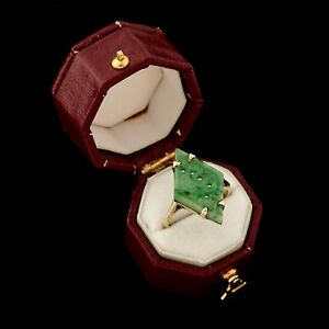 Antique Vintage Art Deco 14k Gold Chinese Carved Imperial Jade Jadeite Ring Sz 5