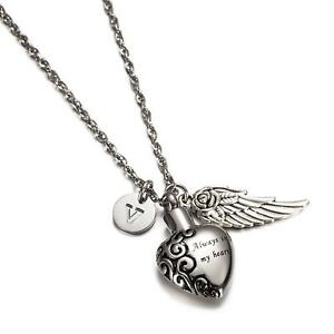 Always in my heart Pendant with Initial Necklace Angle Wing Ash Holder Urn...
