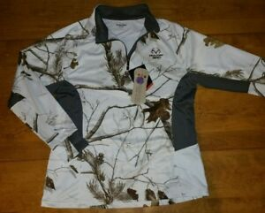 NWT Women's Realtree Snow Camo Performance Dri Dry Fit Pullover Shirt Hunt L