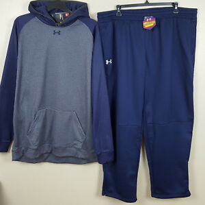 UNDER ARMOUR COLDGEAR SWEATSUIT HOODIE +PANTS NAVY BLUE GREY RARE NEW (SIZE 3XL)