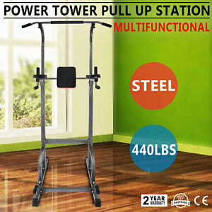 Power Tower 440lb Height Adjustable Station Dip   Bar Pull Up Multi-Station