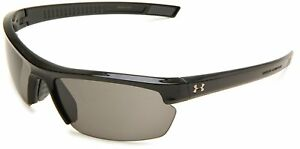 Brand New Under Armour Stride XL Rectangle Sunglasses Shiny Black FrameGray