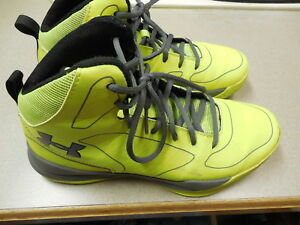 UNDER ARMOUR Youth Boys Basketball Shoes Size 6Y USA Neon Yellow Gray Trim