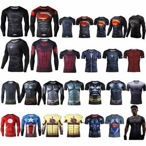 Compression Marvel Superhero T-Shirt Superman Men Sports Bicycle Gym Jersey Tee