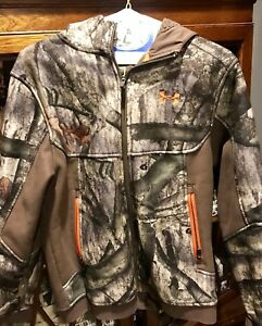 Youth Large Under Armour Mossy Oak Zip Up Jacket Hoodie UA Storm hunting camo