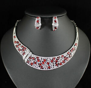 Equisite Red Cubic Zirconia CZ Necklace Earrings Set Choker Gold Plated CZ914