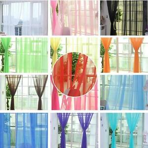 Newly Door Window Curtain Floral Tulle Voile Drape Panel Sheer Scarf Valances US
