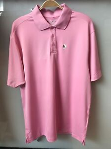 NWT Men's UNDER ARMOUR HeatGear Groove solid PINK Loose Golf Polo Shirt size XL