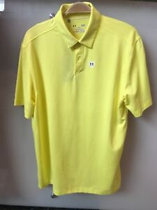 NWT Men's UNDER ARMOUR HeatGear Groove solid YELLOW Loose Golf Polo Shirt size L