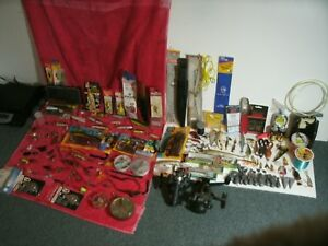 HUGE Lot of fishing equipment reels lures sinkers tackle box some vintage !!