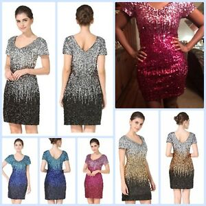 Bodycon Party Evening Cocktail Short Mini Dress Sequin Glitter Short Sleeve