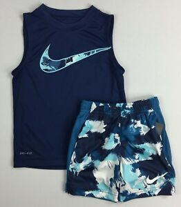 Toddler Boy's Nike Dry Dri-Fit Polyester Sleeveless Shirt and Shorts 2 Piece Set