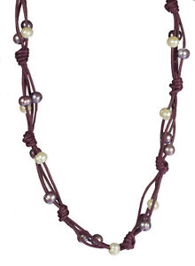 Leather Cord Cultured Freshwater Pearl Necklace 19