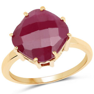 14K Yellow Gold Plated 8.95Ct Glass Fill Ruby 925 Sterling Silver Cocktail Ring