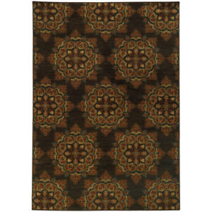 Brown Circle Orbs Hoops Kaleidoscope Contemporary Area Rug Geometric 5495C