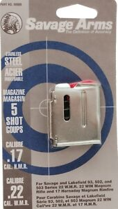 Savage 93 Series Stainless Magazine 5 Round 17 HMR  22 WMR #90009 NEW